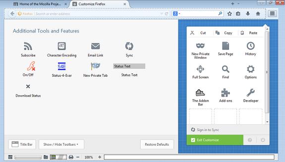 Firefox 29 addon-bar